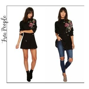 NWT FreePeople Black Floral Gemma Mini Dress Tunic